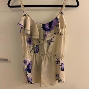 Amanda uprichard silk tank with lilac floral - S